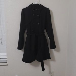 Black Trench Pea Coat with Ruggle Detailing
